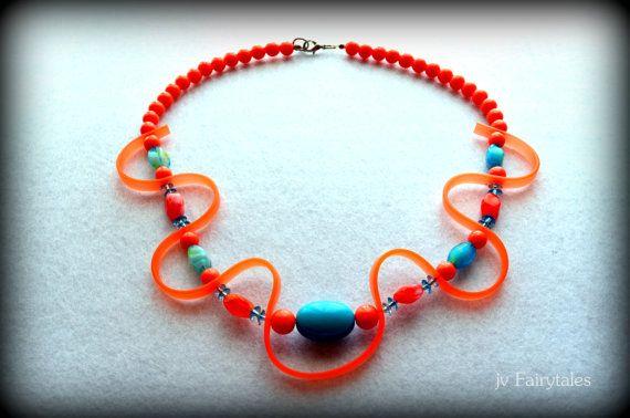 Orange Rubber Necklace Caoutchouc Necklace Trendy by jvFairytales