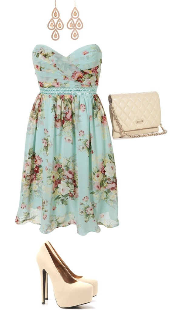Not into the heels or the bag but the dress is really cute