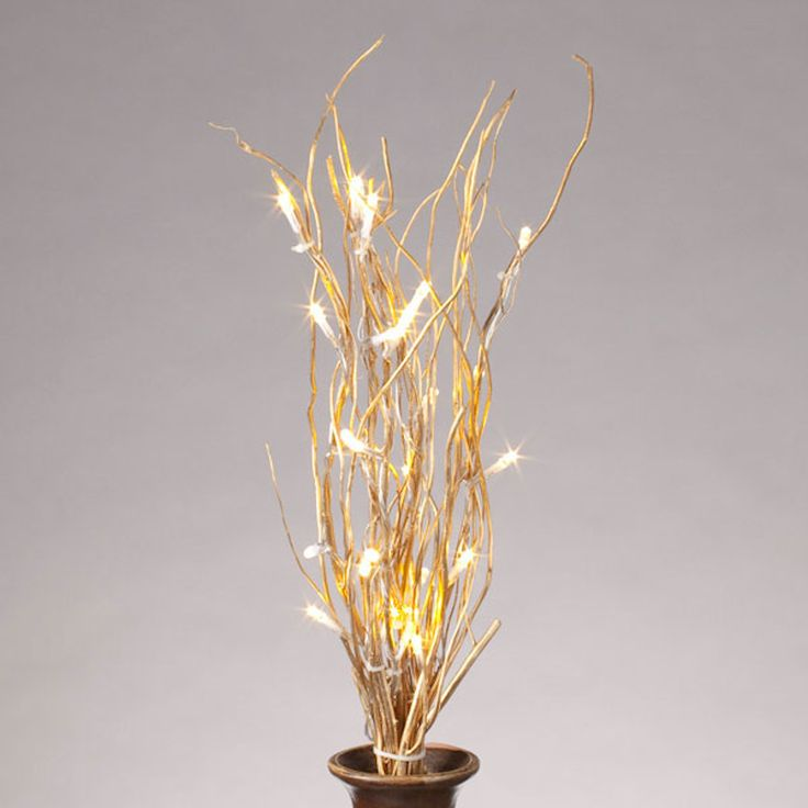 "20"" Gold Willow Battery Operated LED Lighted Branch with Timer (25 Warm White Lights)"