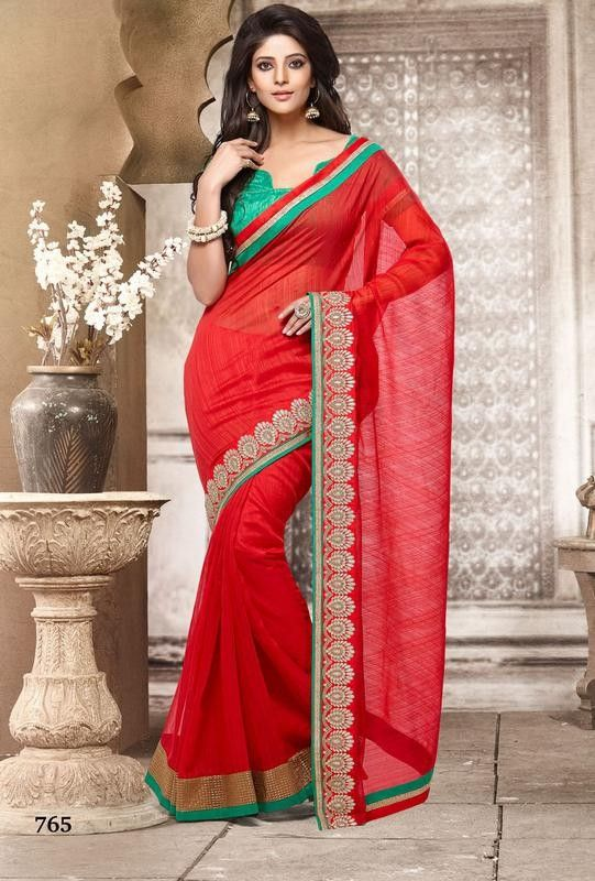 Festive Red Cotton Jacquard Saree With Silk Blouse