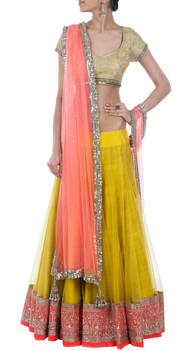 MANISH MALHOTRA Green net-raw silk embroidered lehenga set perniaspopupshop.com