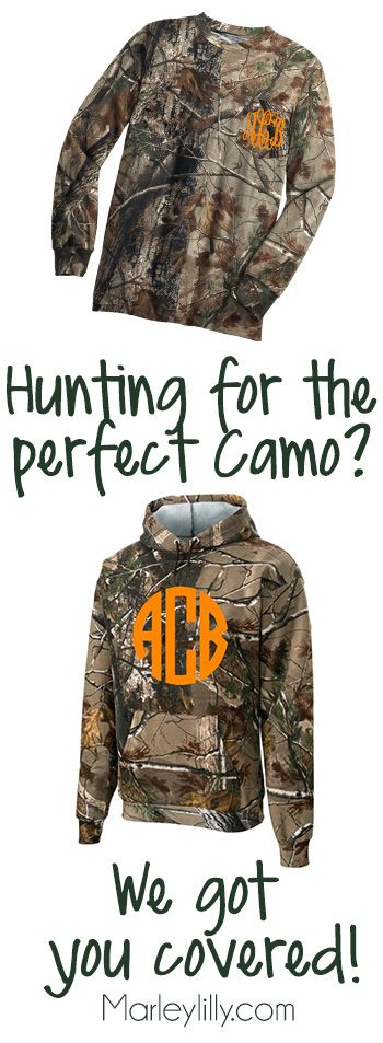 Hunting for the perfect camo? We got you covered! Marleylilly.com has a great selection of camo! #camo #hunting #monogram