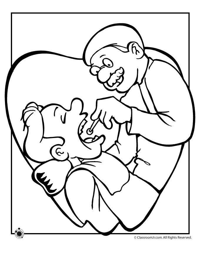 Dentist Exam Coloring Pages Prek K Community Helpers Pinterest For Kids And