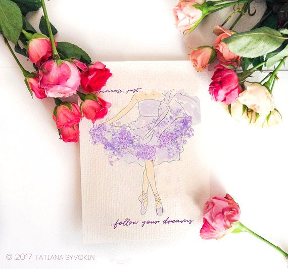 Ballerina card Watercolor Ballet Shoes Lilac girl card Girl  #cards #handmade #ideas #printable #watercolor #sympathy #stampsets #flowers #painting #painted #simple #forgirl #gift #idea #lilacs #girlcard #ballet #balletshoes #ballerina #flowercard #floralprint #floralcard #inspiration #phrase #text #birthdaycard #greetingcard #inspirationcard #spring #thankyoucard