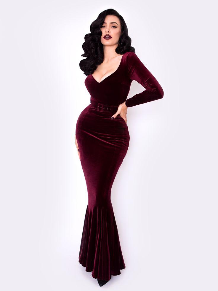 PRE-ORDER - Black Marilyn Gown in Oxblood Velvet