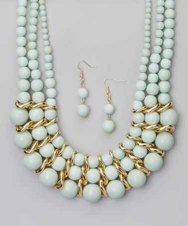 Look at this #zulilyfind! Mint Bead Necklace & Drop Earrings #zulilyfinds