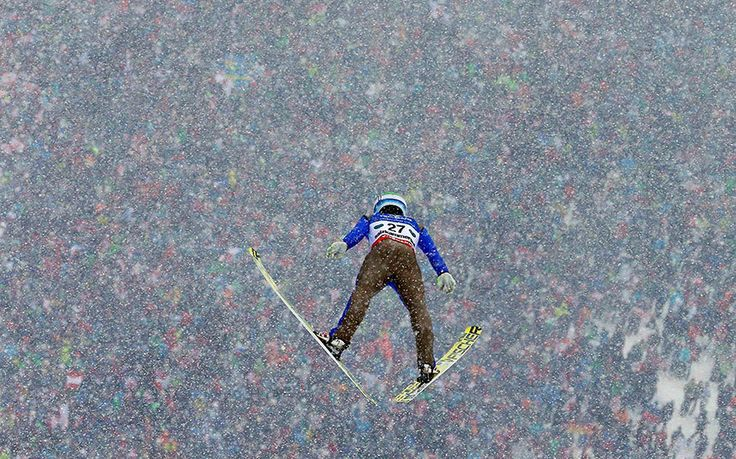 Andre Johann Forfang of Norway performs a trial jump during the Ski Flying World Championships at Kulm hill in Bad Mitterndorf, Austria