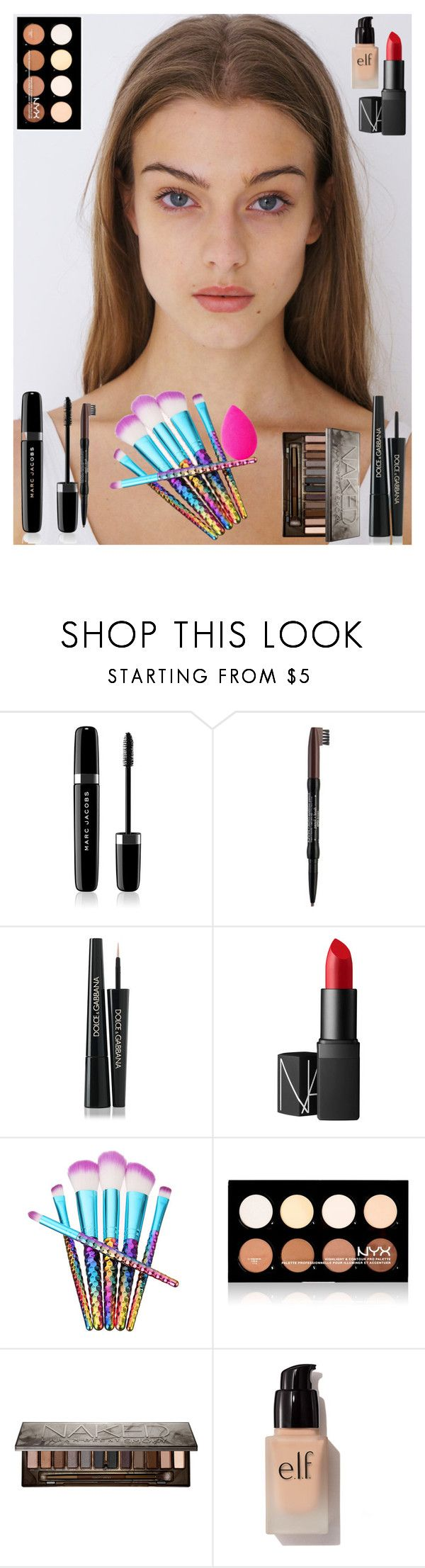 """""""make-up tutorial"""" by amiinaah ❤ liked on Polyvore featuring beauty, Marc Jacobs, NYX, Dolce&Gabbana, NARS Cosmetics, Urban Decay, e.l.f. and beautyblender"""