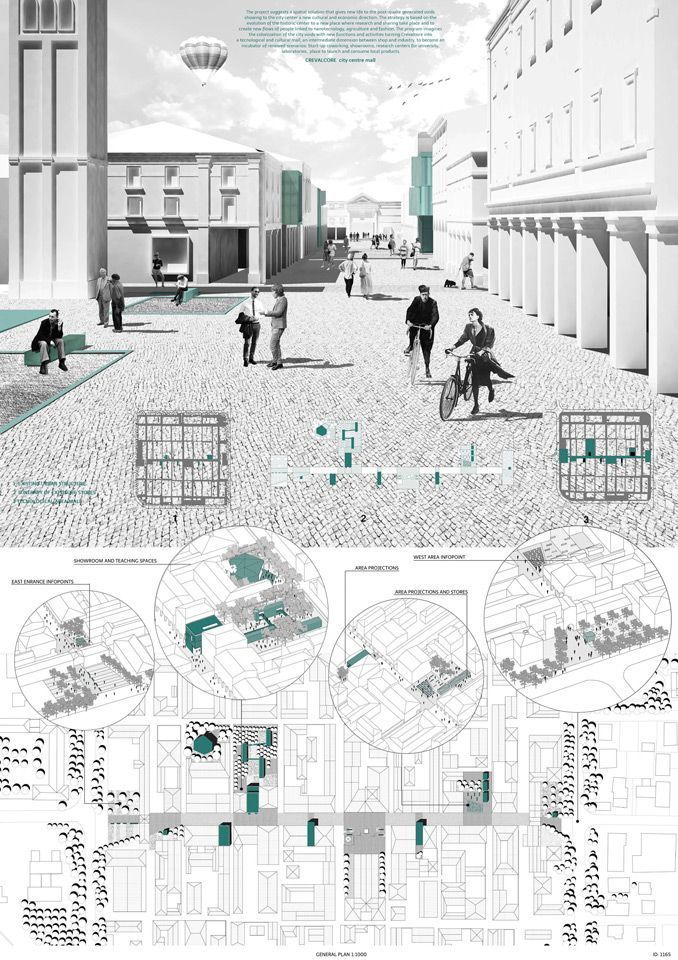 arch drawings -- Monochrome rendering + layout / Winners of the YAC – Post Quake Visions Competition