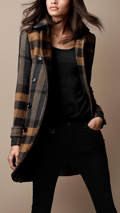 Burberry Brit Mid-Length Woven Check Wool Trench Coat. Love this coat