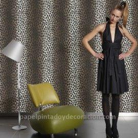 Papel pintado piel leopardo tonos marrón blanco roto y negro PDW9663023 imágenes