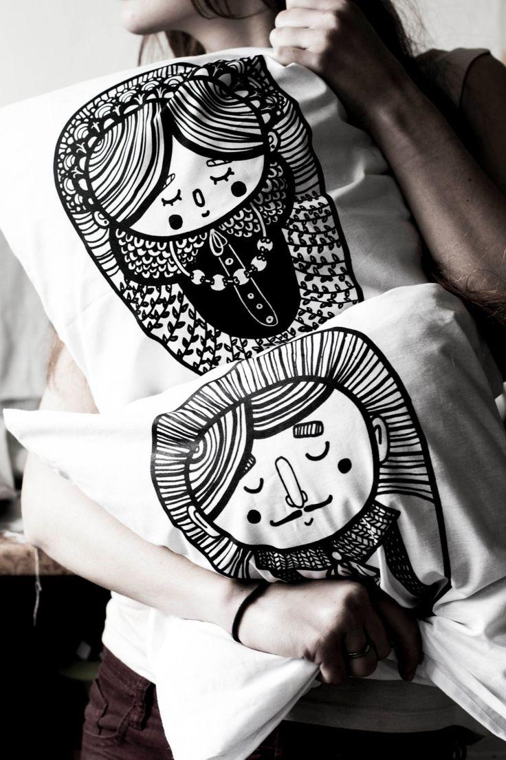 Set of two pillowcases - Mrs & Mr - Malinowe Cacko by MalinoweCacko on Etsy