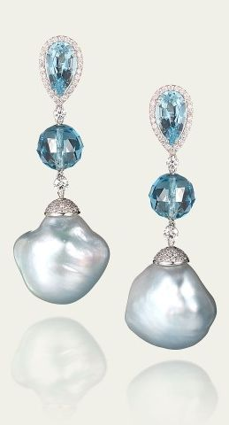 Tamsen Z by Ann Ziff - Blue Baroque Pearl & Aquamarine Earrings