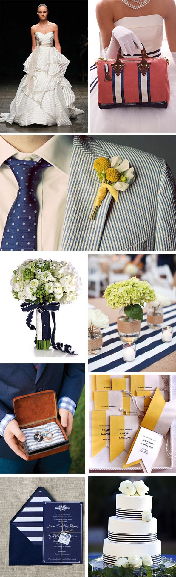 We were inspired by this sweet striped wedding dress, and it got us thinking about how much we love a preppy wedding. Rich colors, stripes, a bit flirty but still so chic and so today we're sharing a few fun preppy wedding ideas