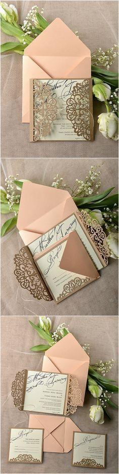 Eco Peach Rustic Laser Cut Wedding Invitation Cards / http://www.deerpearlflowers.com/rustic-wedding-invitations/