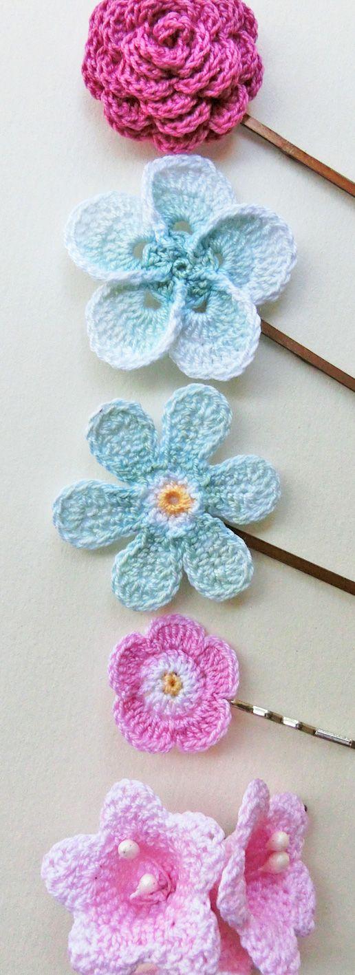 Pink & Aqua, Hand painted crochet flower hair pins. Flower girl hairclips.