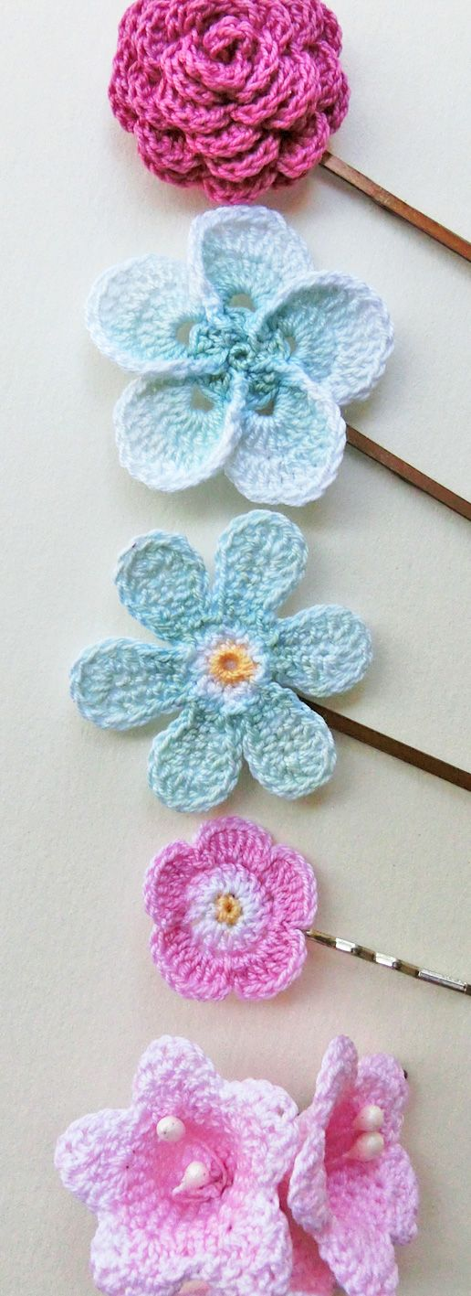 Pink & Aqua, Crochet flower hair pins. Flower girl hairclips.