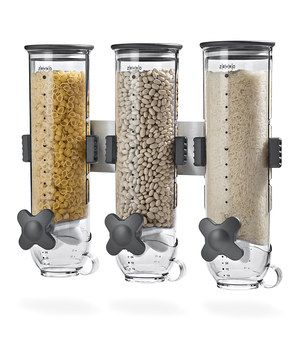 Ideal for keeping cereal, trail mix, granola, beans or other dry foods fresh for up to 45 days, this sleek wall-mounted dispenser provides stylish storage in a compact design. Each twist of the knob releases one ounce of food, which is handy for those seeking easy portion control. See how it works