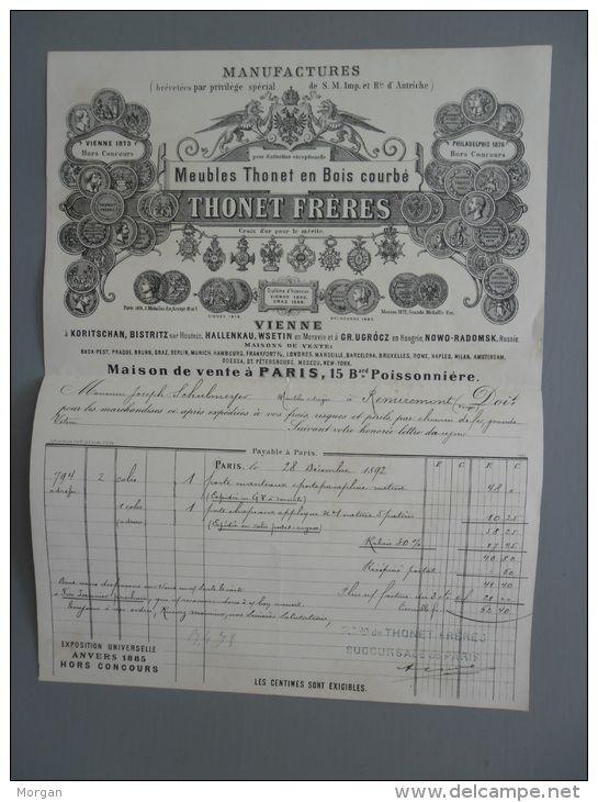 Paris 1892 Meubles Thonet Freres Bois Courbe 1892 Facture Commerciale En Tete With Images Antyki