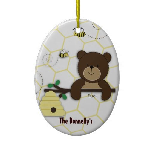 Bear Bumble Bee Personalized Christmas Ornament