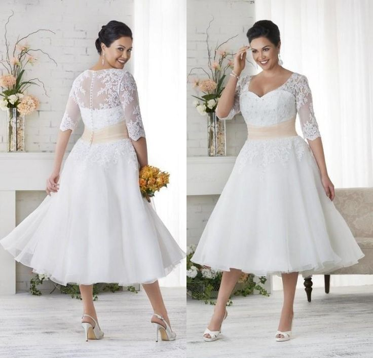 Vintage 2016 Lace Plus Size Garden Wedding Dresses Tea Length with Half Sleeves Sweetheart Appliqued Short Wedding Dresses Custom Made