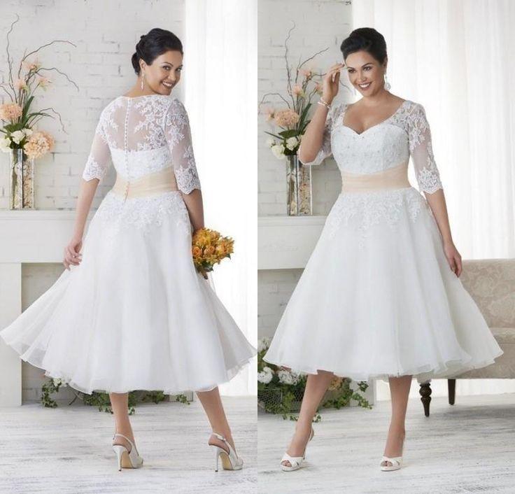 Vintage Plus Size Lace Wedding Dresses Cheap Summer Beach Garden Wedding Bridal Gowns Tea Length White Ivory Appliques Bridal Dresses 9