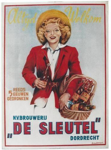 Original Vintage♥ Poster de Sleutel Dutch Beer Girl