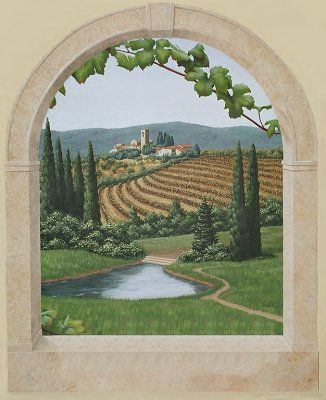 17 best images about trompe l 39 oeil on pinterest gardens vineyard and n - Stickers trompe oeil mural ...
