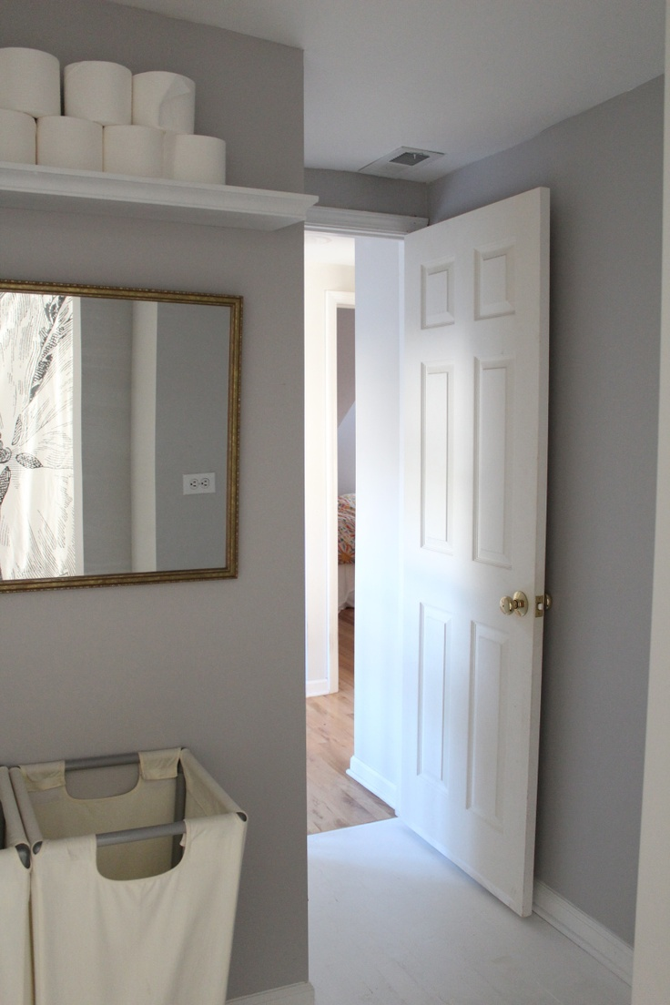 Paint Colors Of Gray Part - 48: Toilet Paper Shelf In The Bathroom Dolphin Gray | Behr Paint I Like The  High Shelf