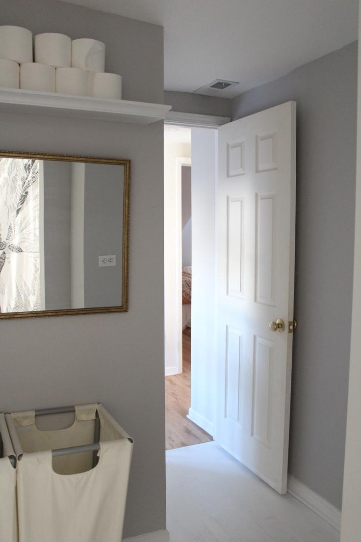 Bathroom paint ideas behr - Toilet Paper Shelf In The Bathroom Dolphin Gray Behr Paint I Like The High Shelf
