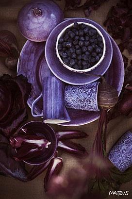 パープル色の洋食器