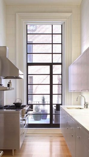 window: Decor Kitchens, Kitchens Design, Kitchens Countertops, Gray Cabinets, Steel Window, Galley Kitchens, Design Kitchens, Modern Kitchens, White Kitchens