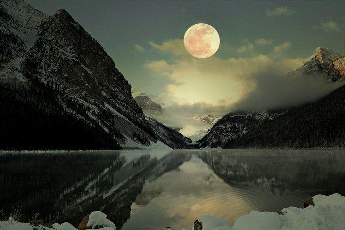 Lake Louise Full Moon Photography Print 11x14 Fine Art Banff Canadian Rockies Mountain Wilderness Night Winter Landscape Photography Print.