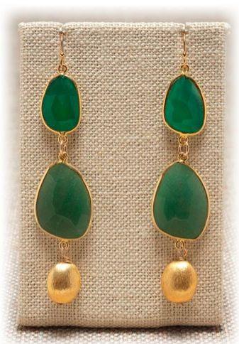 majgreenonyx, green and gold earrings