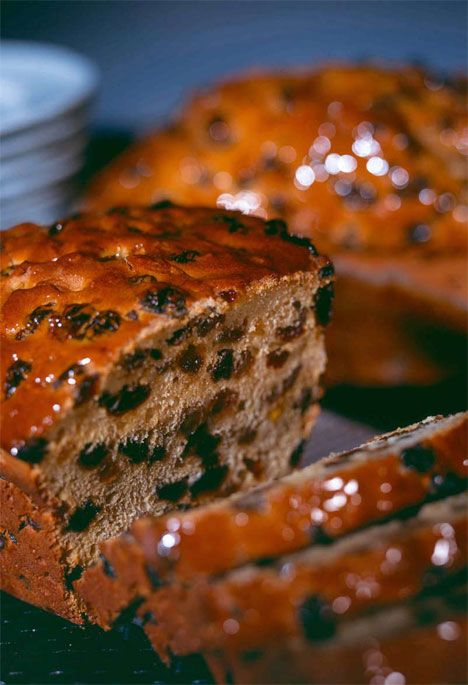 "Bara Brith, sometimes known as ""speckled bread"" (, can be either a yeast bread enriched with dried fruit or something more like a fruitcake made with self-raising flour"