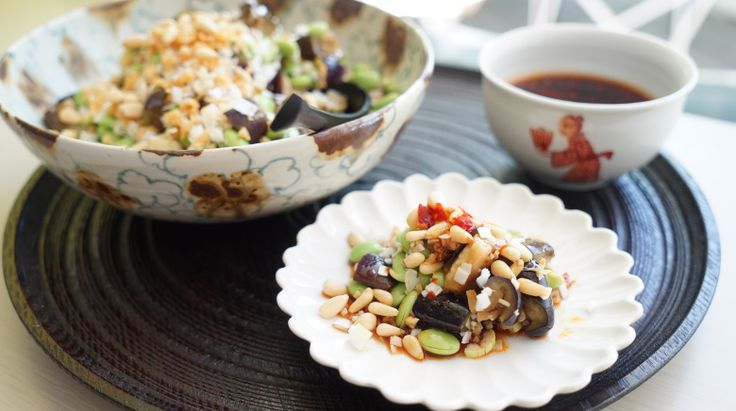 ゆでなすと枝豆の中華ソース