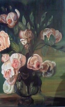 Roses  oil on canvas by  Litsa Raftopoulou