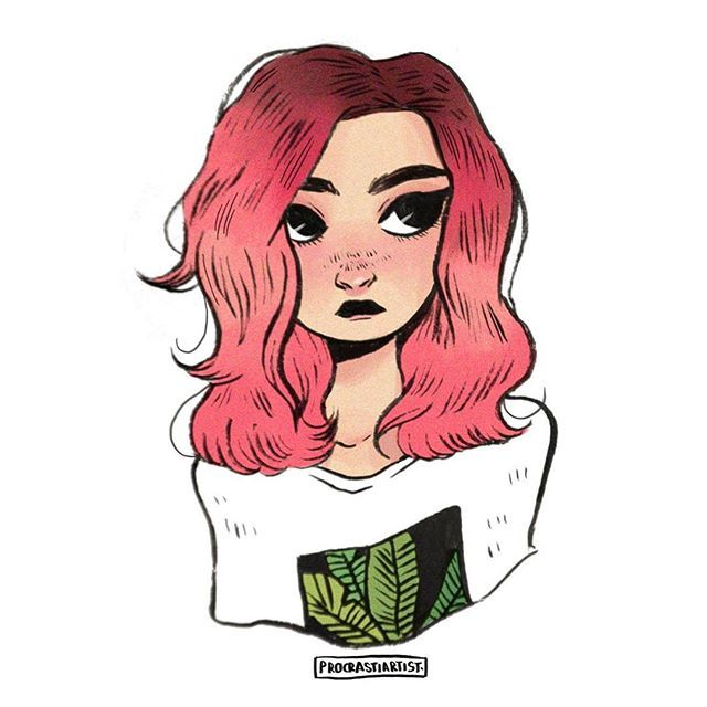 doodle of fav @laiapcy when she dyed her hair this gorgeous shade of pink || i love coloring colorful hair sm ••• #illustration #art #instaart #drawing #doodle #prettypeople #artistsoninstagram