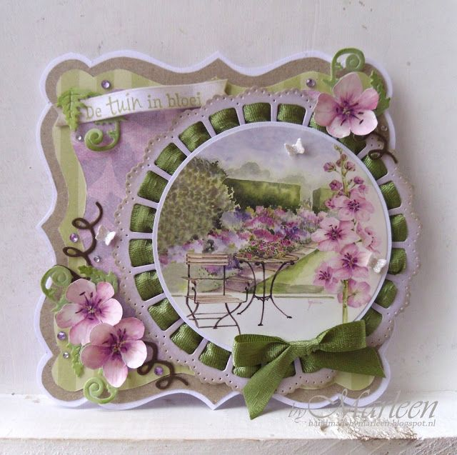 Handmade card by DT member Marleen with among others Craftables Ribbon Doily with Rosette (CR1350), Punch Die Butterflies (CR1354) & Creatables Tiny's Ferns (LR0403) from Marianne Design