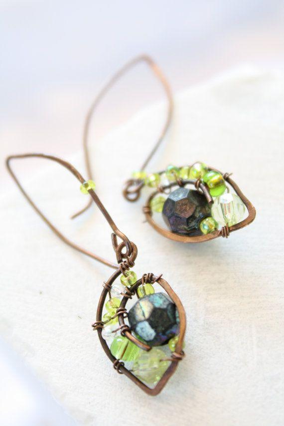 Bohemian Jewelry Wire Wrapped Earrings Boho Earrings by CocaCreek, $20.00