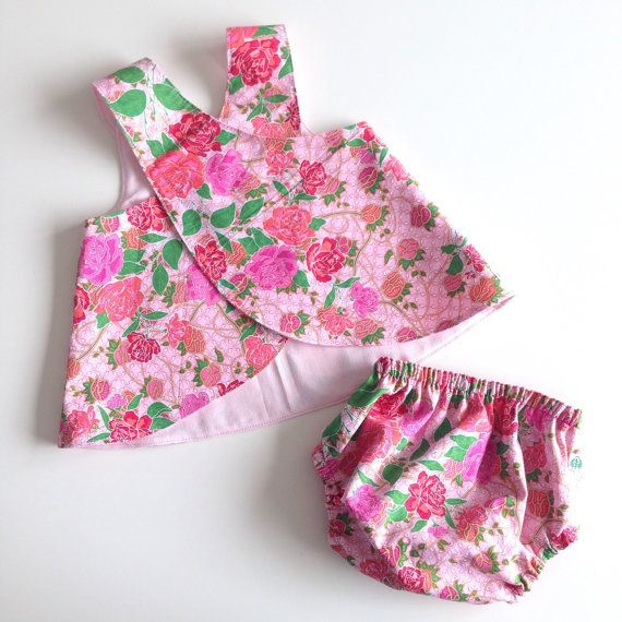 Reversible pinafore dress and diaper cover set. Pink flowers. Size 6 - 12 months. Ready to ship