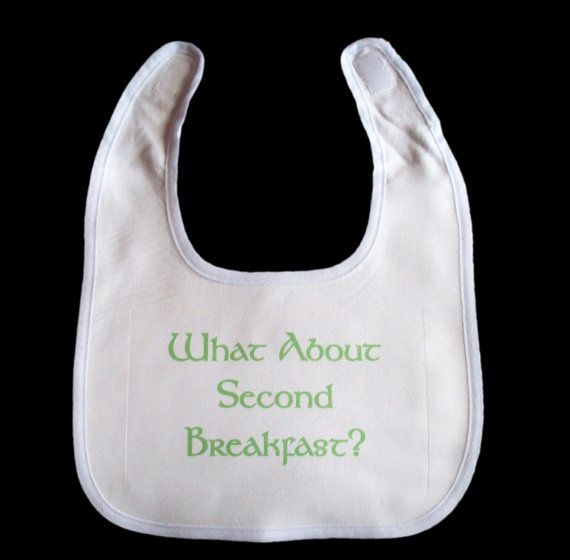 "Tolkien inspired baby bib.  ""What about second breakfast?""  Too cute-- it's never too early to introduce your child to Tolkien :) (By GelertDesign on Etsy)"