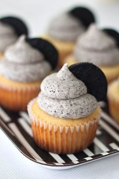 Vanilla Oreo Cupcakes with Oreo Buttercream Frosting.