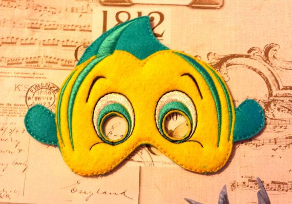 Little Mermaid Fish friend inspired mask ITH Project In the Hoop Embroidery Design Costume Cosplay Fancy dress Masquerade, Photo booth, Prop