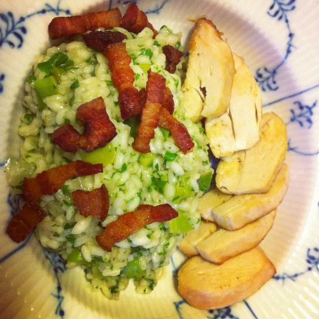 Grøn risotto med ramsløg og persille