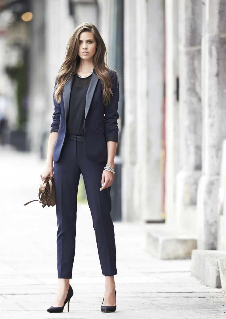 f1411fe4693 Bring an edgy sophistication to the office by wearing this gorgeous navy  blue suit!