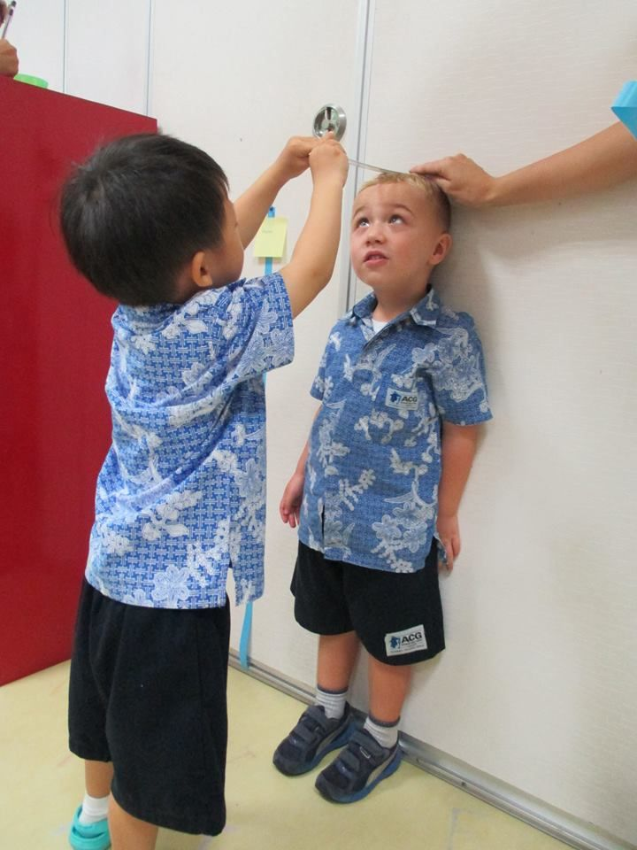 Kindergarten 3 learning to measure each other's height