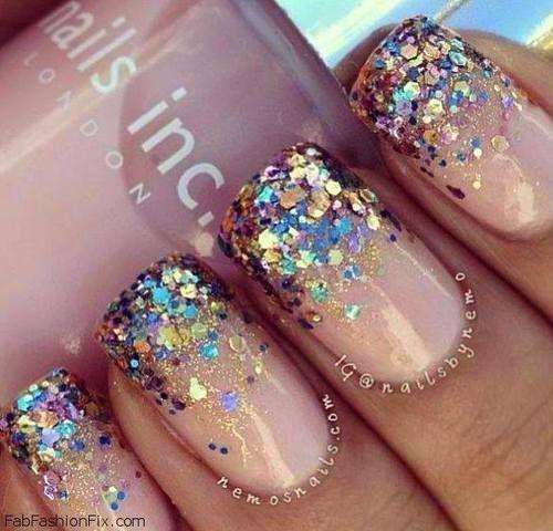 Rainbow glitter nails cute