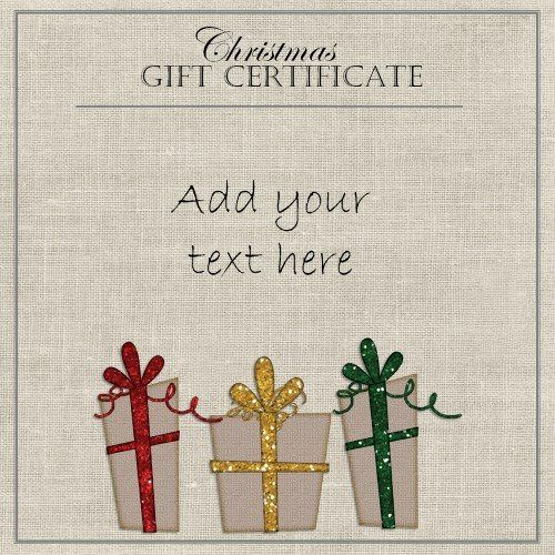 elegant gift certificate template with three gifts with red, yellow and green ribbons