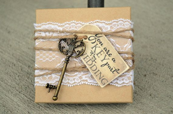 Bridesmaid Box Invitations KEY, Lace & Tag Box Will You be My Bridesmaid Invite Cards Rustic Chic Burlap Vintage Invites Cards